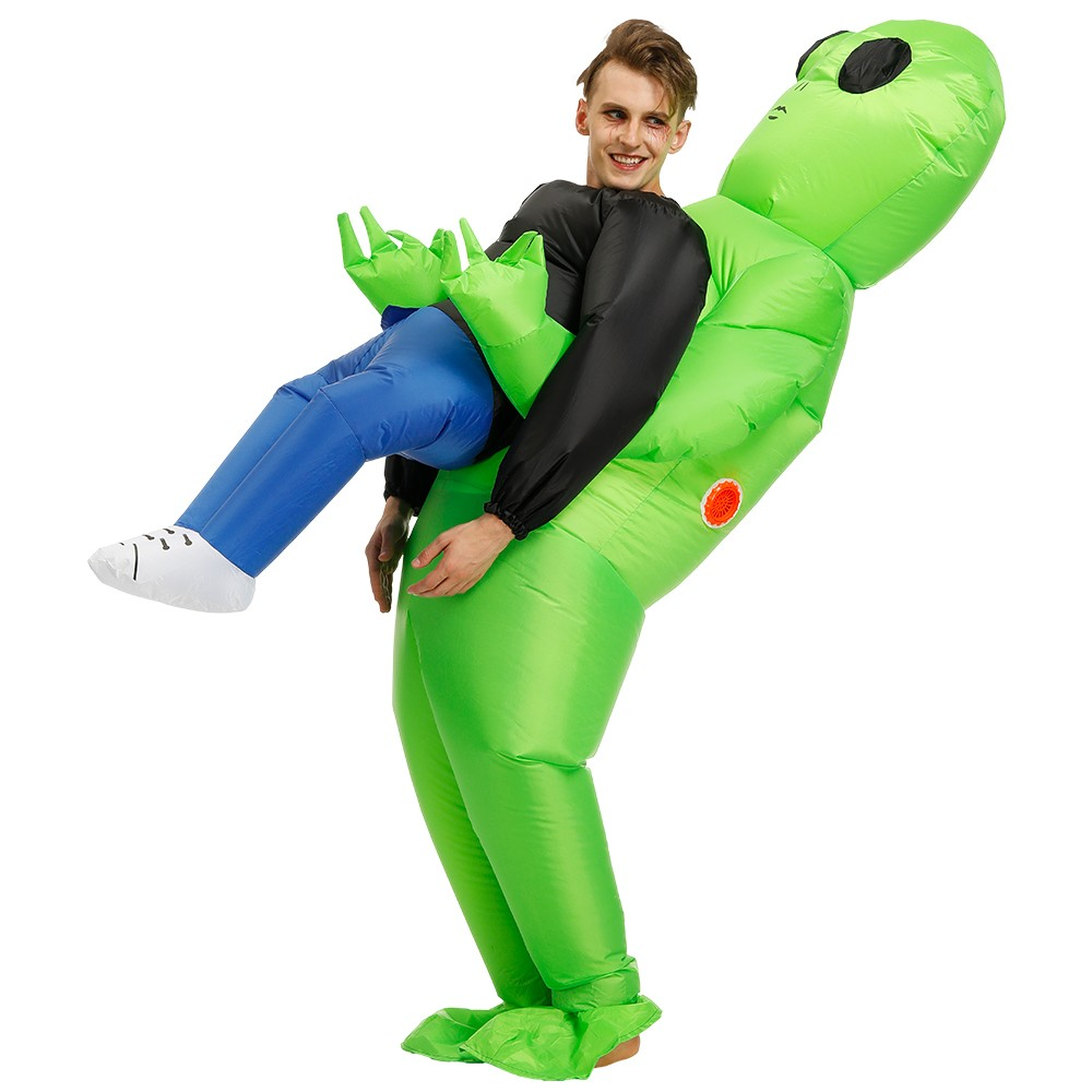 Green Alien Carrying Human Costume (2)