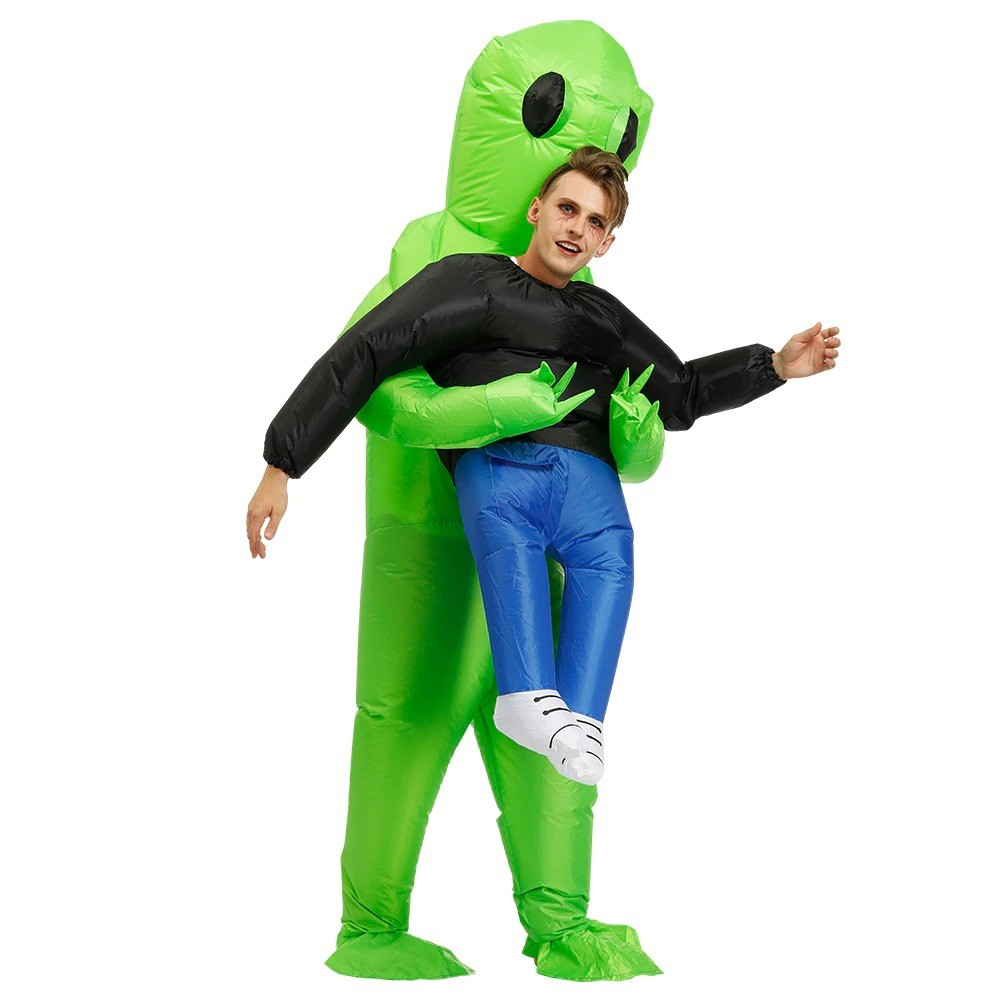 Green Alien Carrying Human Costume (5)