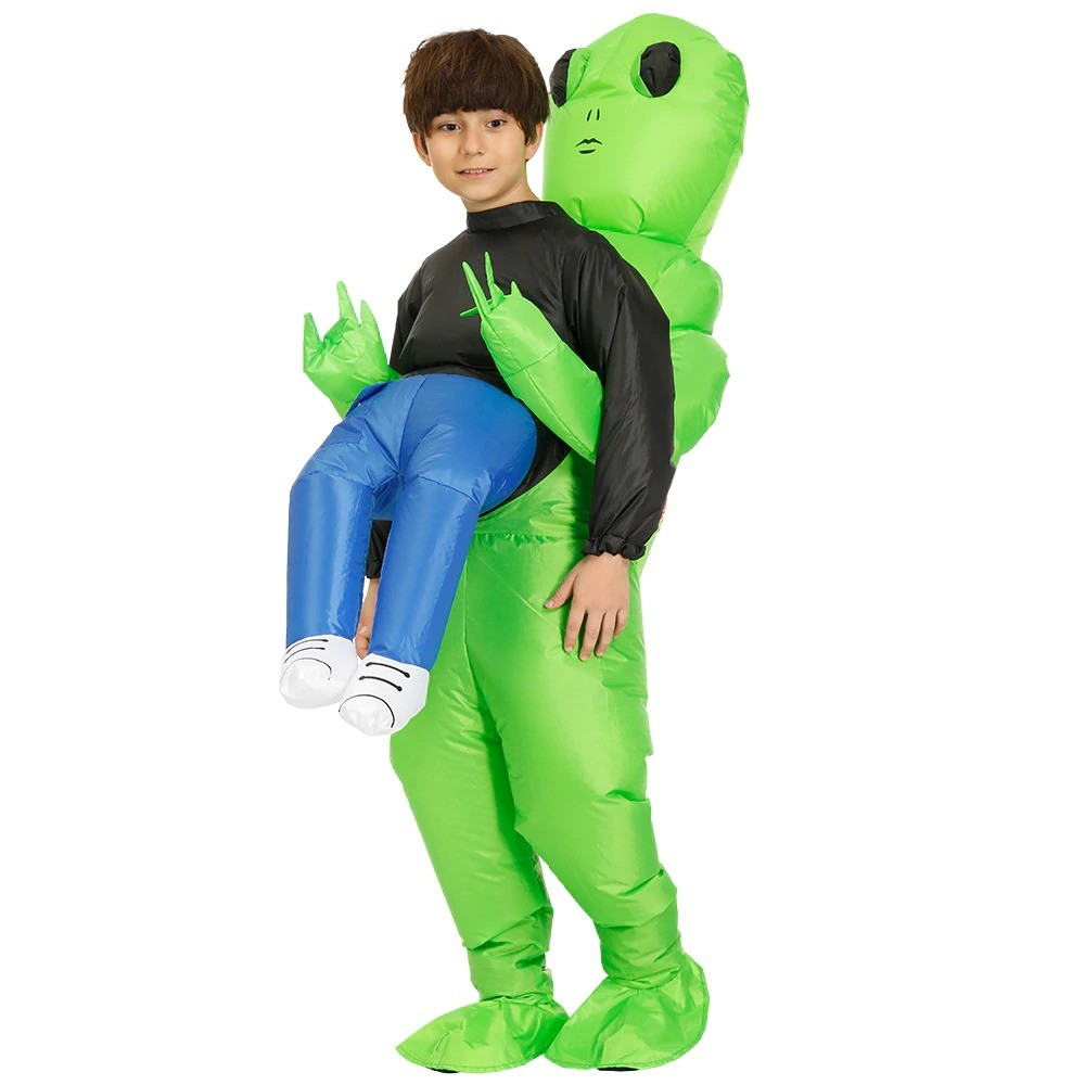 Green Alien Carrying Human Costume (6)