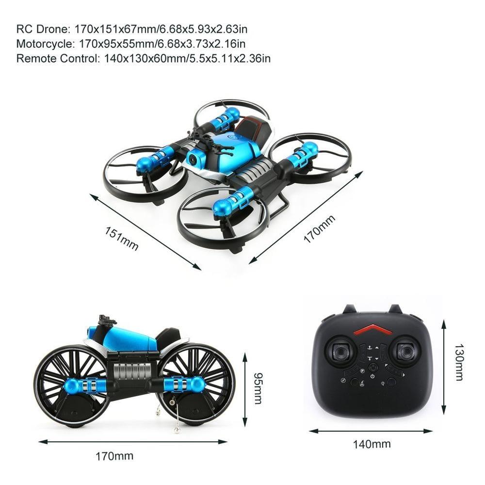 H35726997f3f54f1f89212b8e8e251ae4k - 2 in 1 Deformation RC Folding Motorcycle Drone
