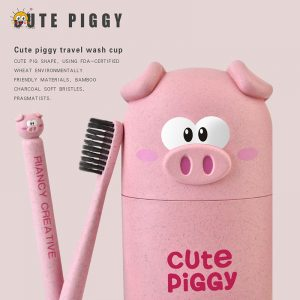 Cartoon Pig Toothbrush Set 4