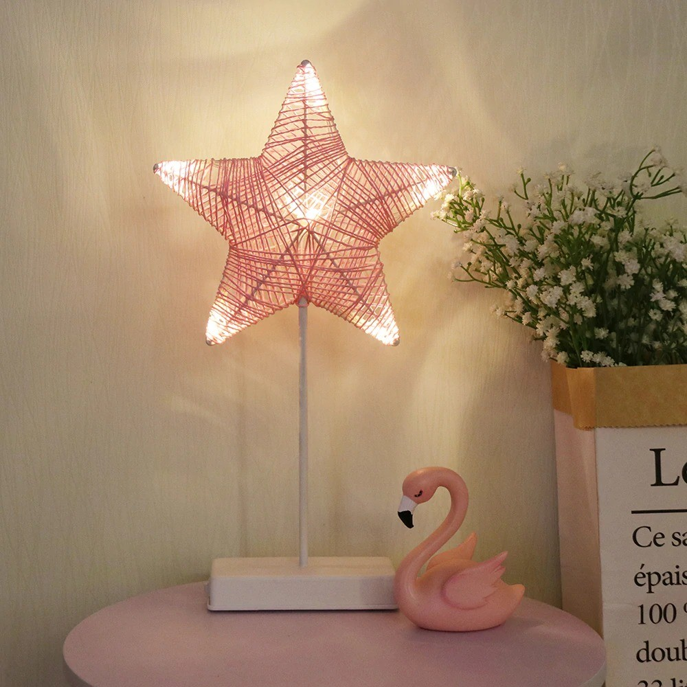 Heart And Star Shape Grass Rattan Woven LED Night Lamp (1)