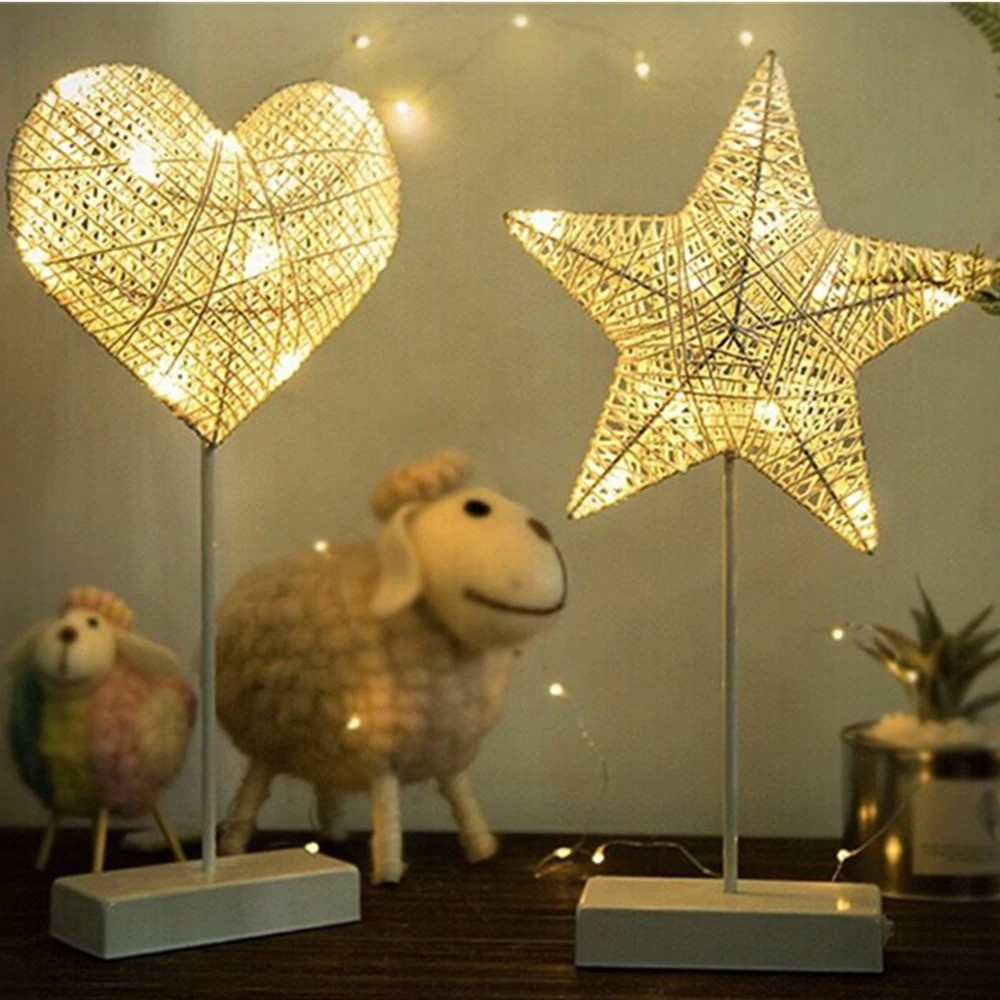 Heart And Star Shape Grass Rattan Woven LED Night Lamp (2)