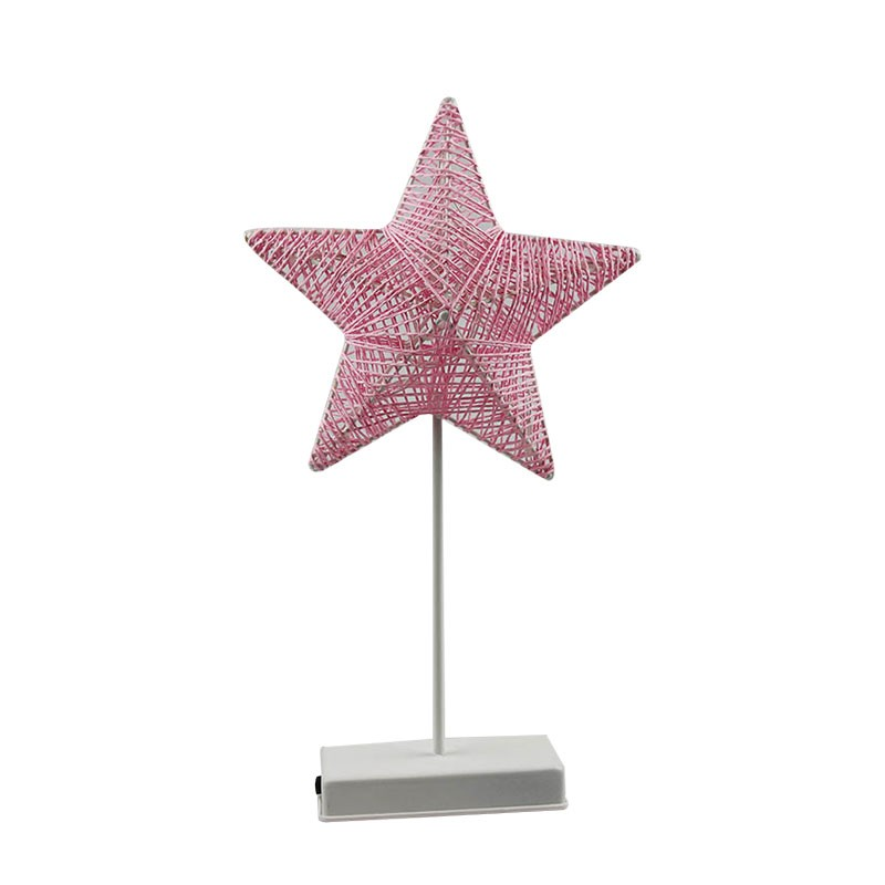 Heart And Star Shape Grass Rattan Woven LED Night Lamp (5)