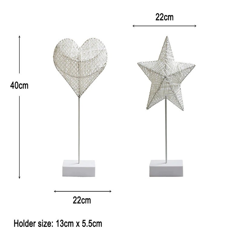 Heart And Star Shape Grass Rattan Woven LED Night Lamp (9)