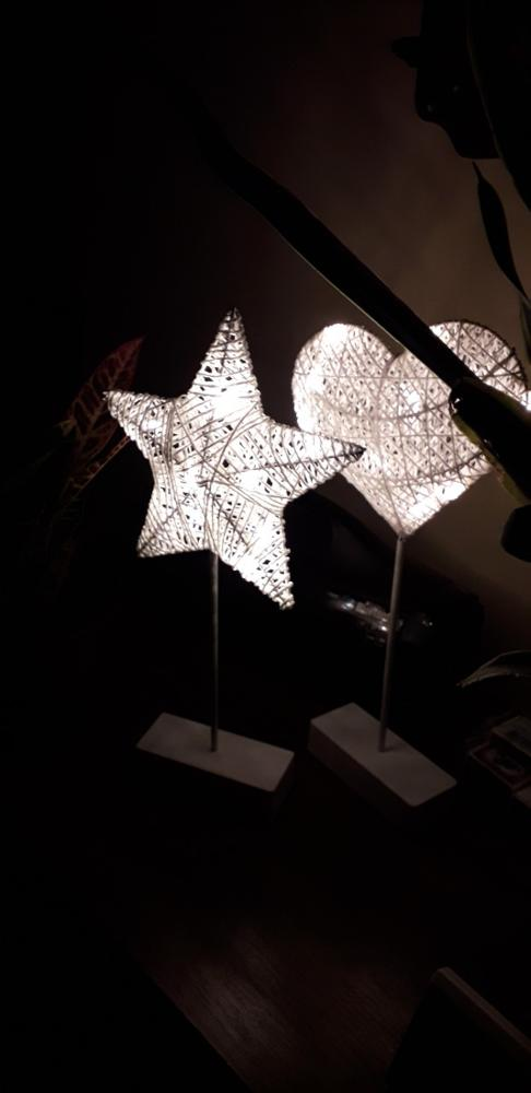 Heart And Star Shape Grass Rattan Woven LED Night Lamp photo review