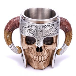 Double Handle Horn Skull Beer Cup 2