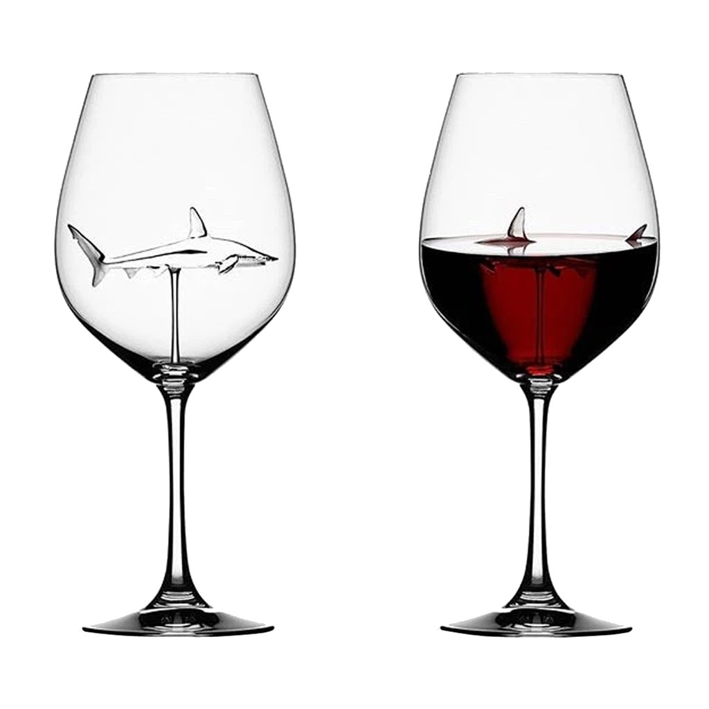 Home The Original Shark Red Wine Glass Wine Bottle Crystal For Party Flutes Glass Creative New - The Shark Wine Glass