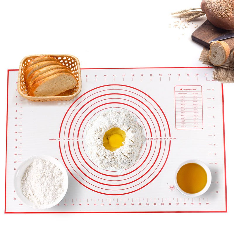 Silicone Baking Mats Sheet Pizza Dough Non Stick Maker Holder Pastry Kitchen Gadgets Cooking Tools Utensils - Ultimate Kitchen Utensil Set 12Pcs