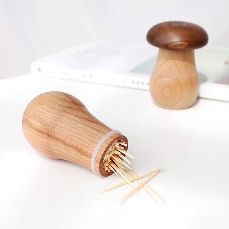 Creative Wooden Mushroom Toothpick Holder 3