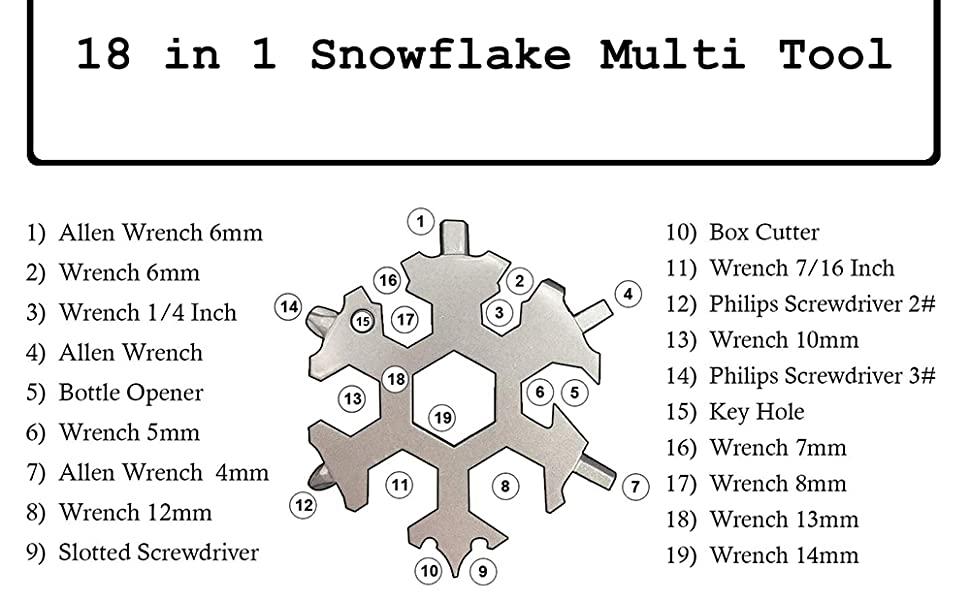 18 in 1 Snowflakes Multi-tool