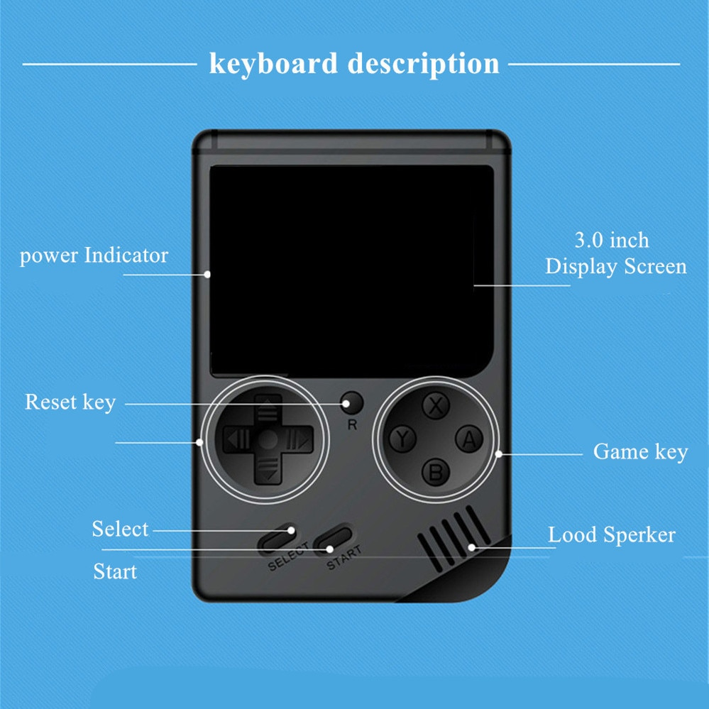 Retro FC Handheld Game Console Built-in 168 in 1