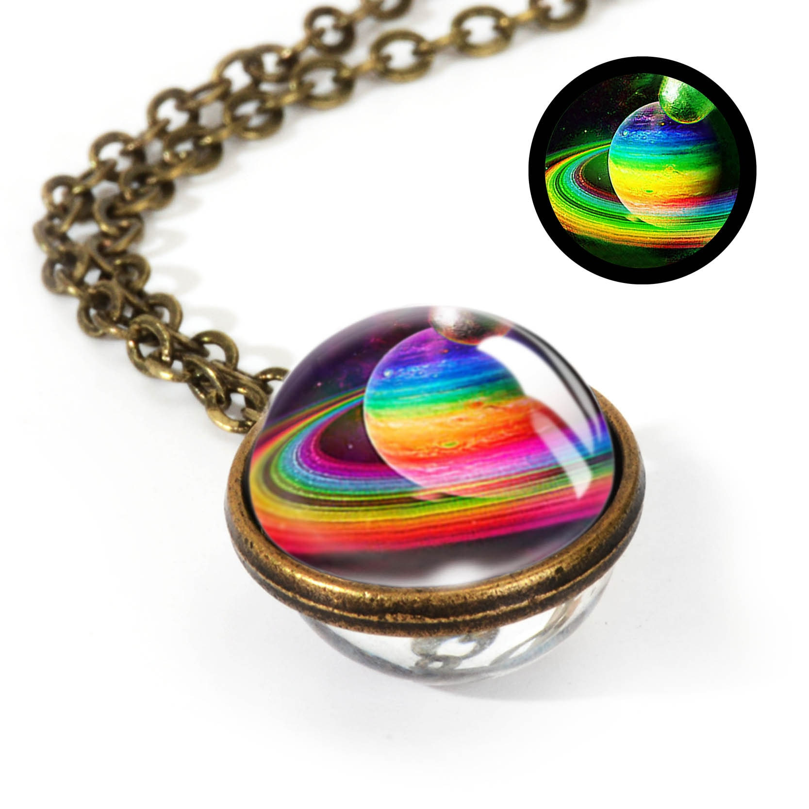 Space Glass Pendants Necklace