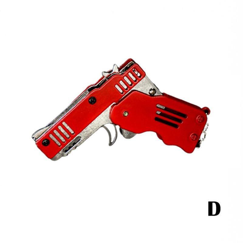 Mini Folding Rubber Band Gun Toy Keychain