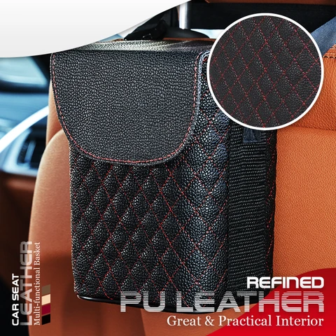 Car Seat Leather Multifunctional Basket