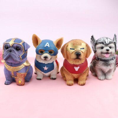 Creative Hero Dog Resin Piggy Bank