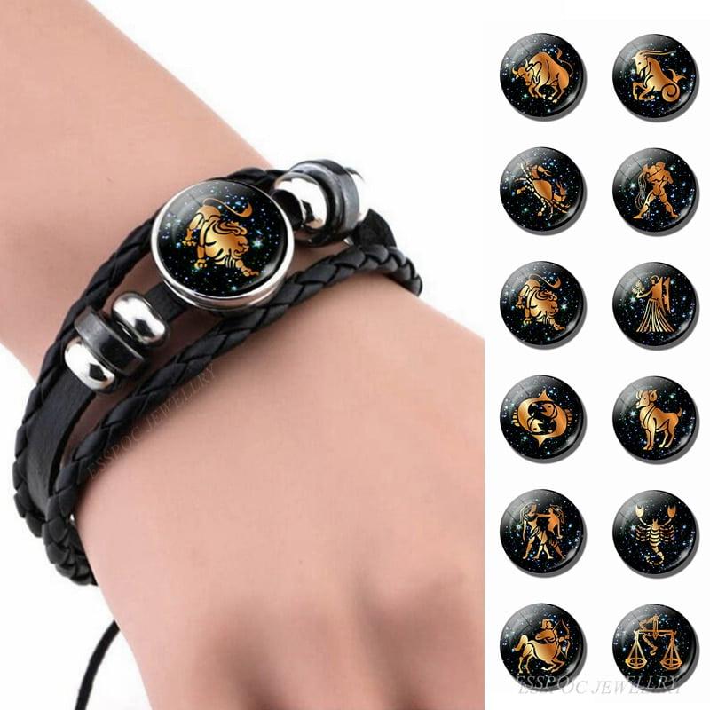 12 Constellation Leather Bracelet
